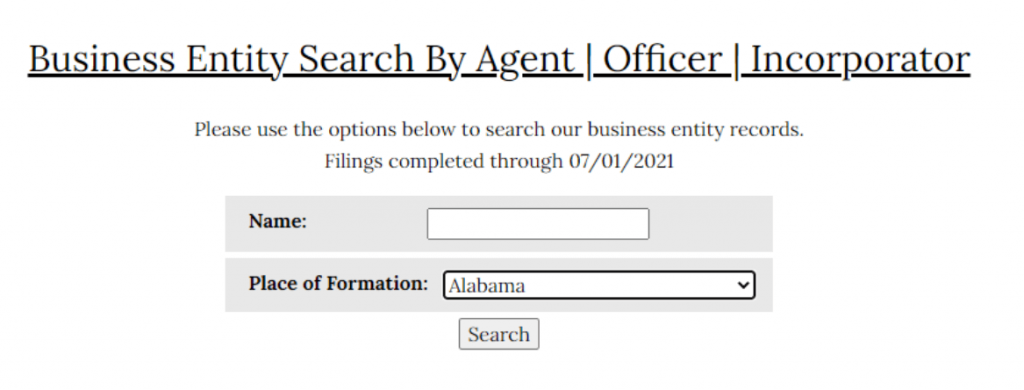 Alabama name search by agent