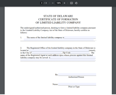 delaware certificate of formation step 1
